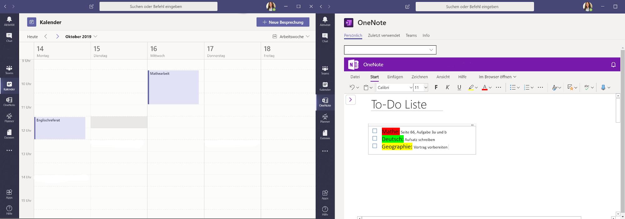Zwei Screenshots zeigen die Anwendungen Microsoft Teams und OneNote