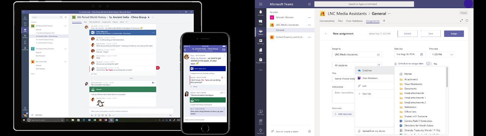 Zwei Screenshots zeigen die Anwendung Microsoft Teams