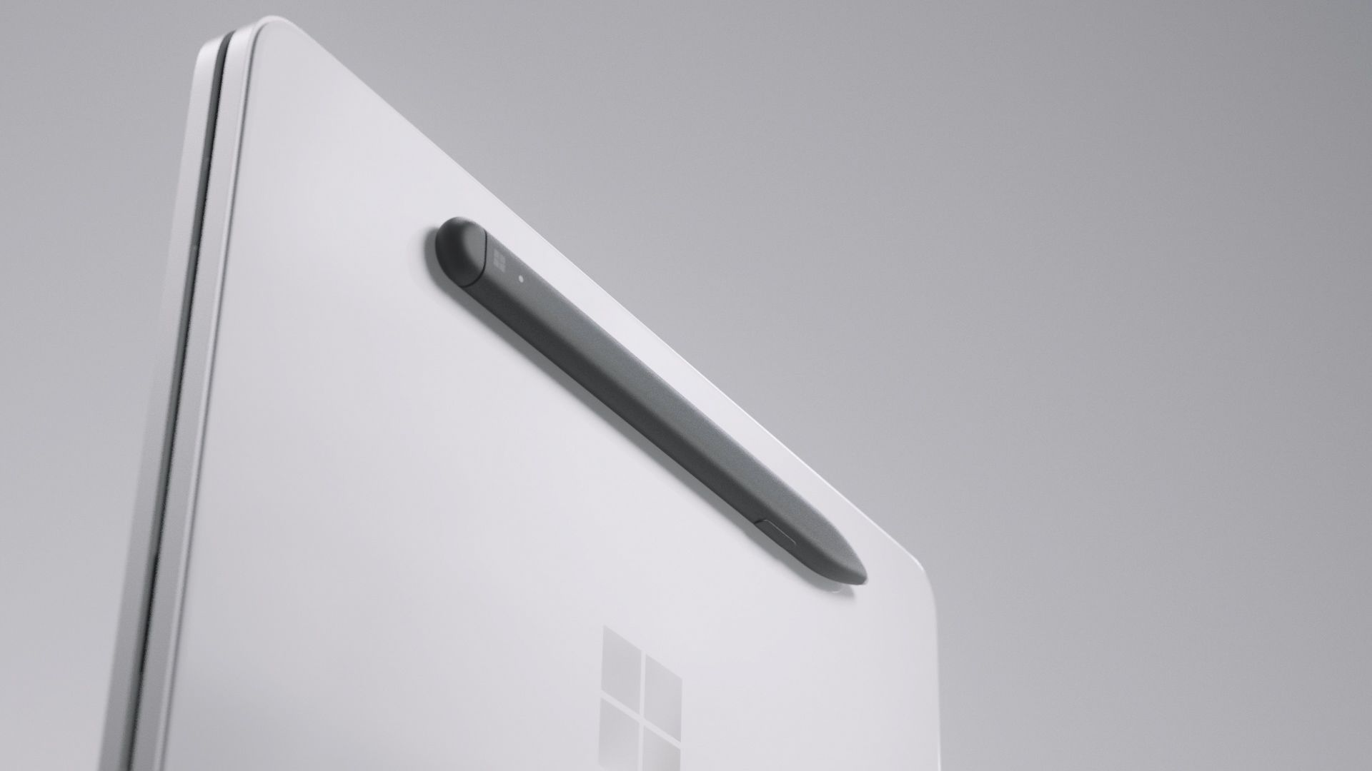 The Surface Slim Pen is magnetically attached to the outside of the Surface Neo.