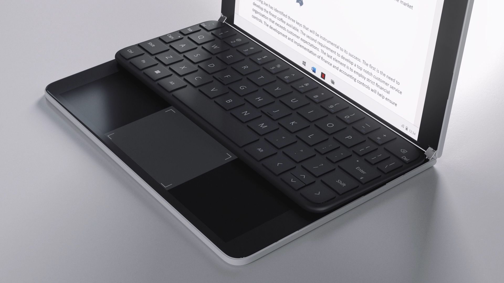 The keyboard and trackpad of the Surface Neo are placed on a screen of the device.
