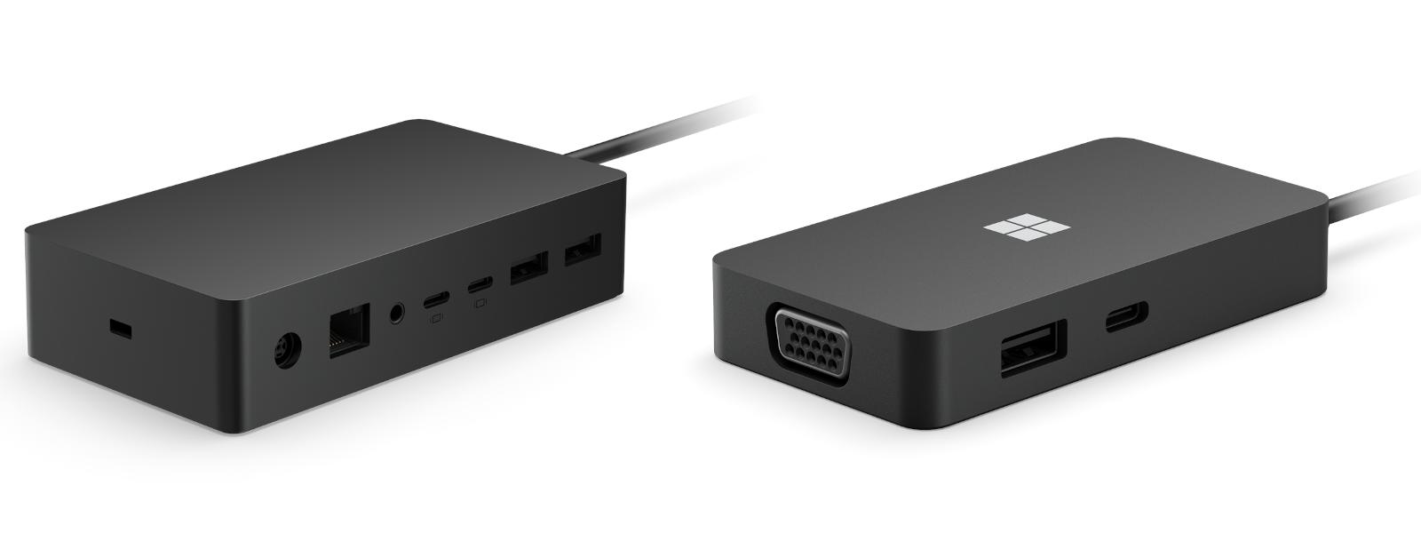 Das Surface Dock 2 und das Surface USB-C Travel Hub in der Seitenansicht