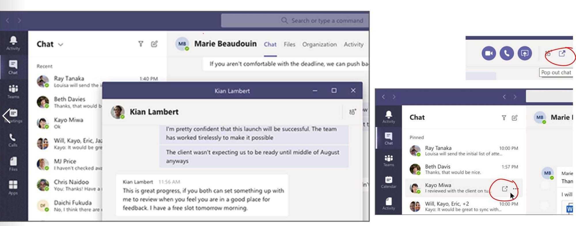 Durch einen Klick neben den einzelnen Chat wird ein einzelnes Gespräch in Microsoft Teams in einem neuen Fenster geöffnet