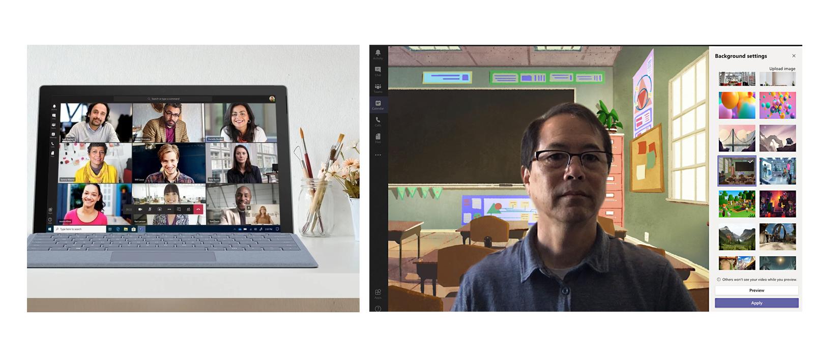 In Microsoft Teams können nun bis zu 9 Teilnehmer gleichzeitig gesehen und individuelle Hintergründe ausgewählt werden