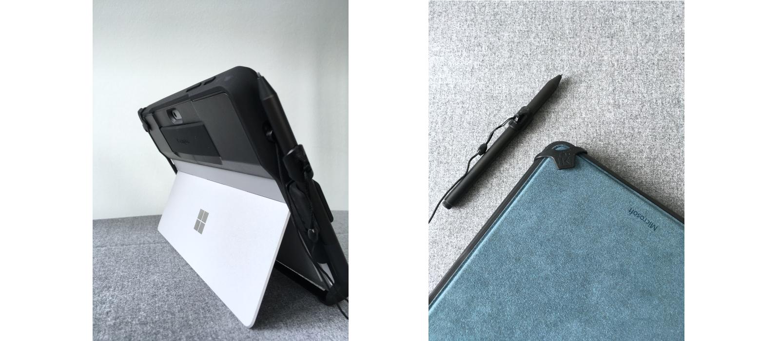 Das Kensington® BlackBelt™ Rugged Case für das Surface Go und Surface Go 2 mit Stifthalter für den Surface Pen