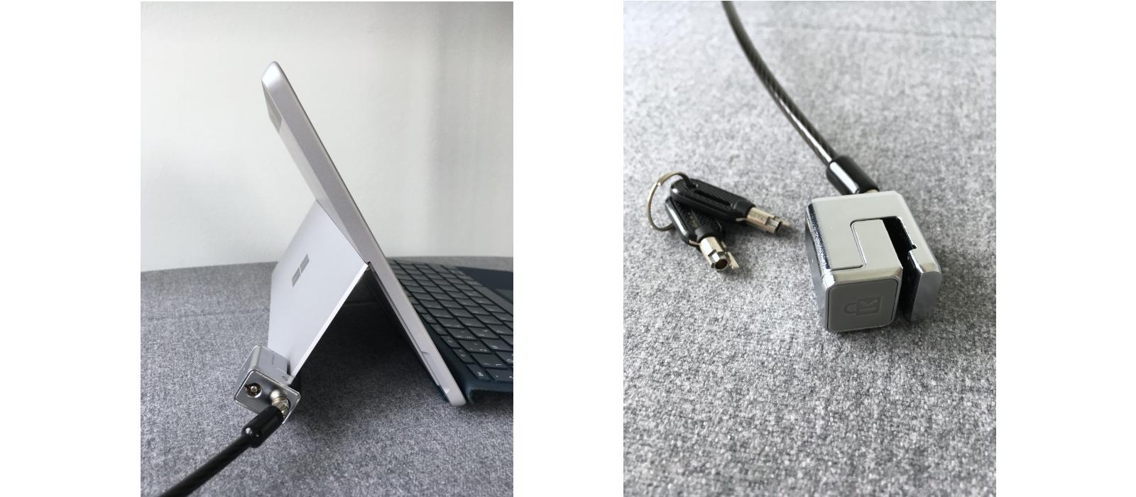 Kensington® Kabelschloss für das Surface Pro 7/6/5/4 & Surface Go und Surface Go 2 am Surface Go befestigt