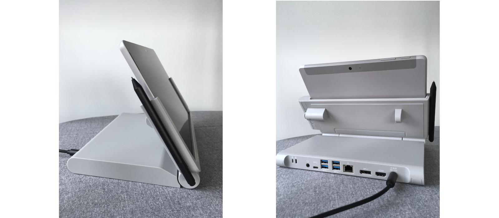 Die Kensington® SD6000 Dockingstation mit dem Surface Go und den verschiedenen Anschlussmöglichkeiten