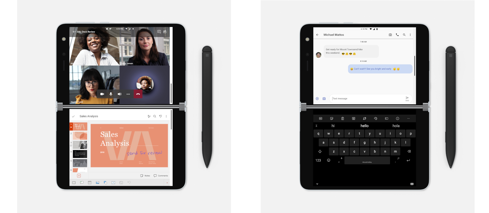 Auf dem linken Bild sieht man ein geöffnetes Microsoft Teams Meeting mit Teilnehmerinnen und eine PowerPoint Präsentation und auf dem rechten Bildschirm eine geöffnetes Chatfenster in Microsoft Teams mit der Tastatur auf dem zweiten Bildschirm.