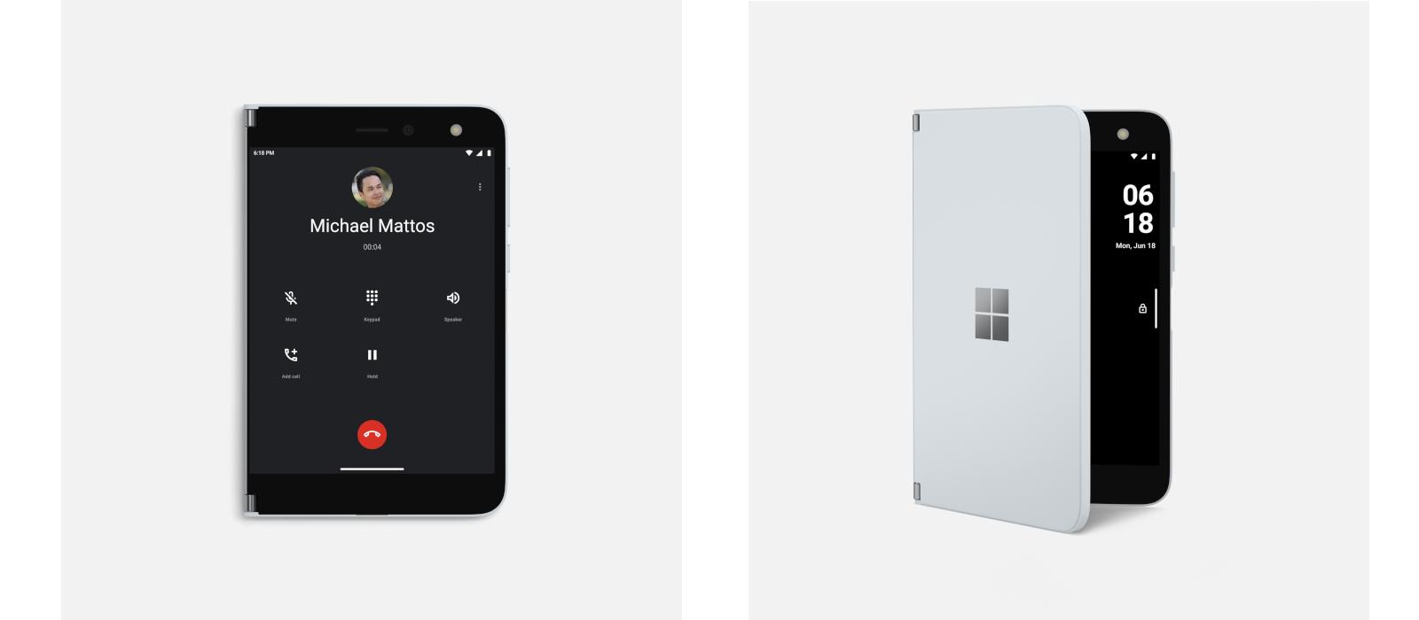 Auf dem linken Bild wird das Surface Duo im Telefonmodus dargestellt. Auf dem rechten Bild halb geöffnet, sodass man das Microsoft Surface Logo auf dem Surface Duo deutlich erkennt.