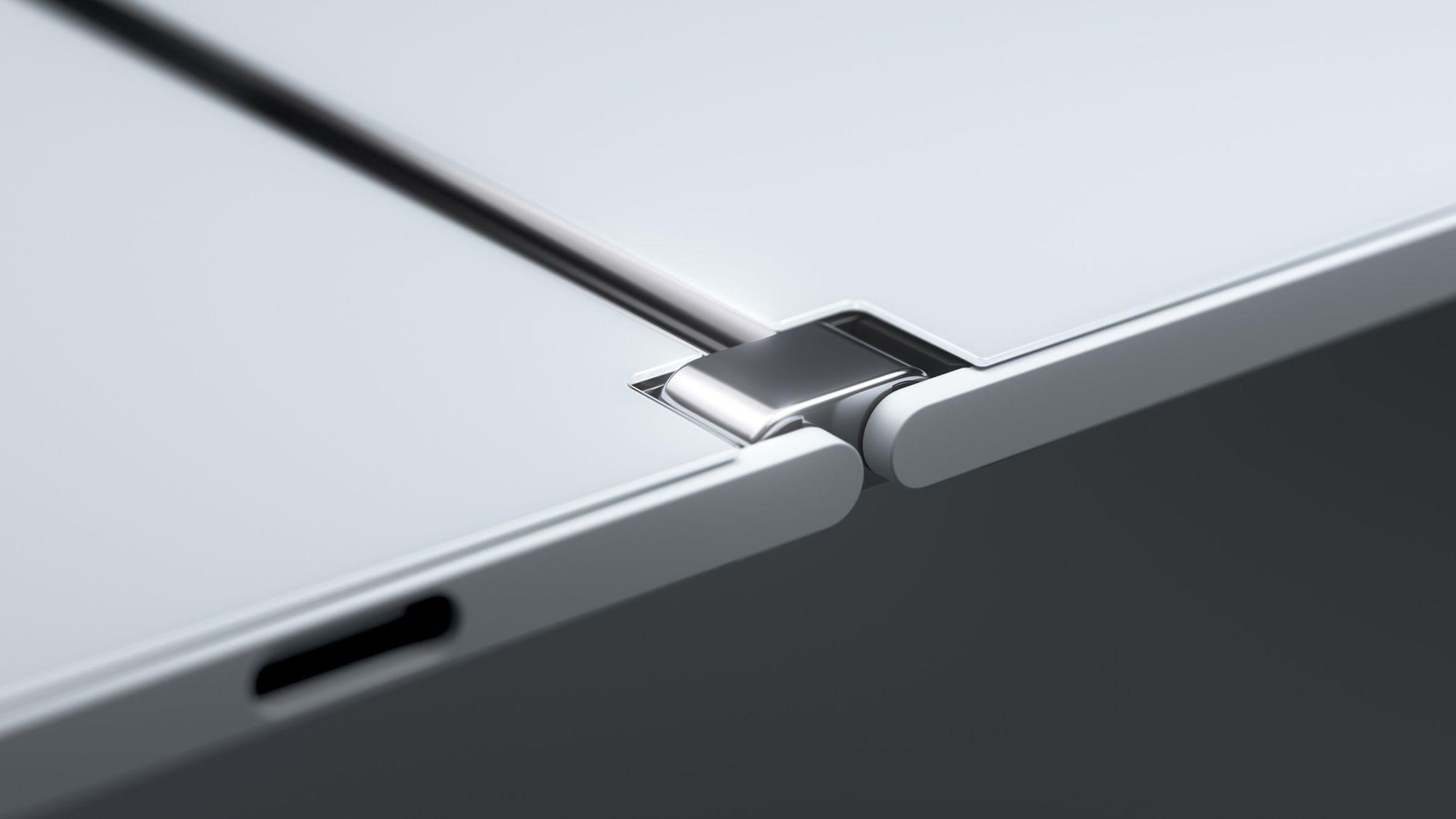 Eine Detailaufnahme des Scharniers des Surface Duos.