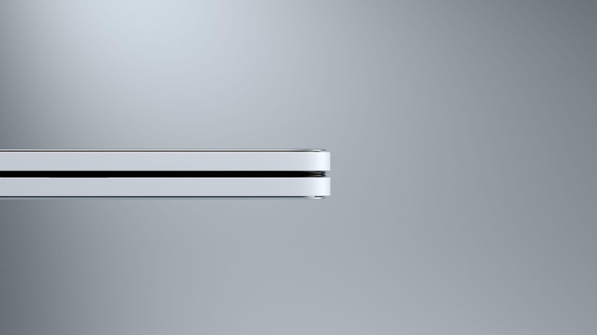 Eine Seitenansicht zeigt das Surface Duo im zusammengeklappten Modus.