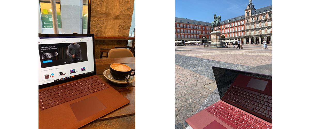 Mit dem Surface Laptop 2 in Bordeauxrot wird auf dem linken Bild in einem Café und auf dem rechten Bild auf einem Platz in der Sonne Madrids gearbeitet