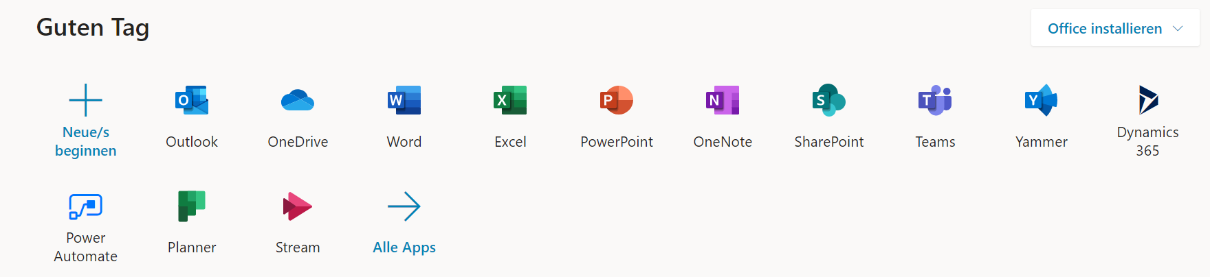 Das Bild zeigt die Anwendungsauswahl in Microsoft 365.