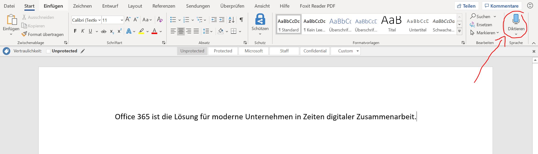Das Bild zeigt das Menu der Anwendung Microsoft Word.