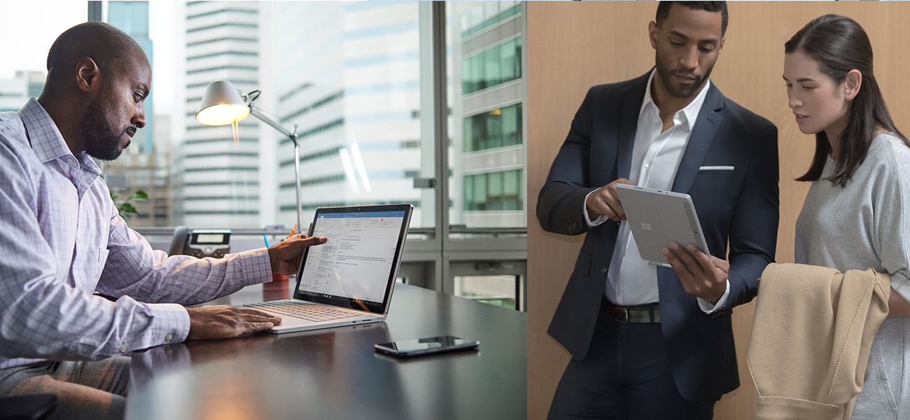 The images show a man working on his Surface Book at an office and two people looking at the Surface Go in tablet mode.
