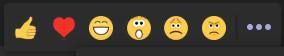Das Bild zeigt die Reaktionsmöglichkeiten auf Nachrichten in Microsoft Teams.