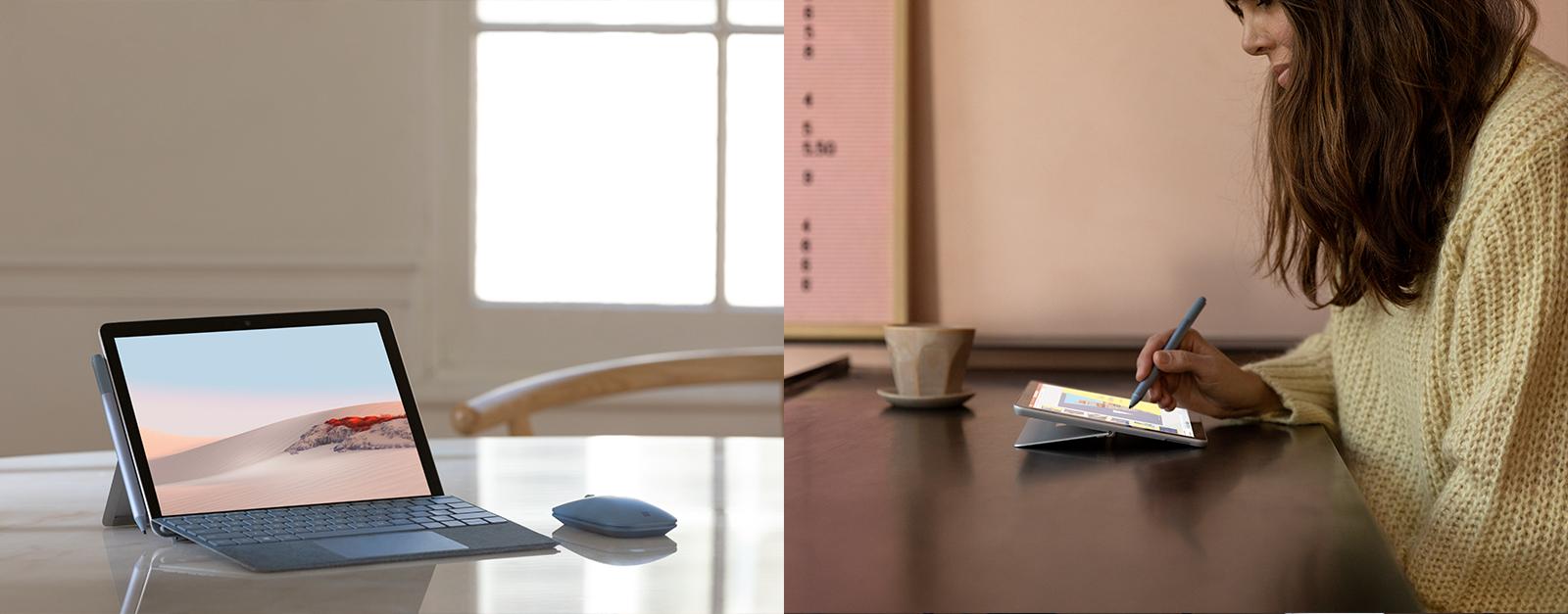 Das Surface Go 2 steht auf einem Tisch und eine Frau arbeitet mit dem Surface Stift auf einem Surface Go 2