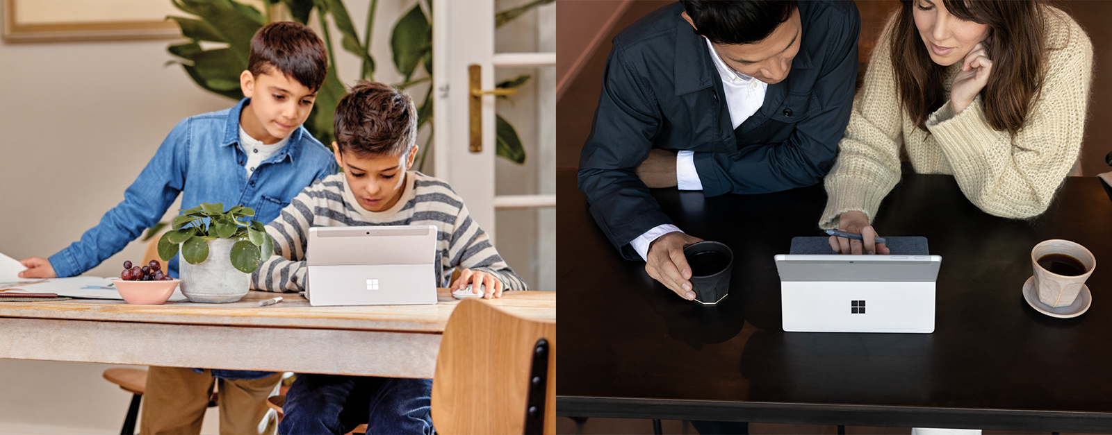 Zwei Kinder arbeiten auf dem Surface Go 2 und zwei erwachsene Personen arbeiten gemeinsam auf dem Surface Go 2