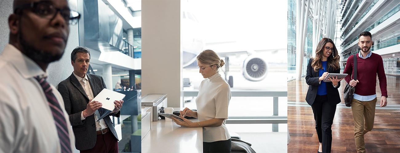 Drei Bilder, die Personen beim Arbeiten an Surface-Geräten in einem Flur, am Flughafen und in einer Eingangshalle zeigen.
