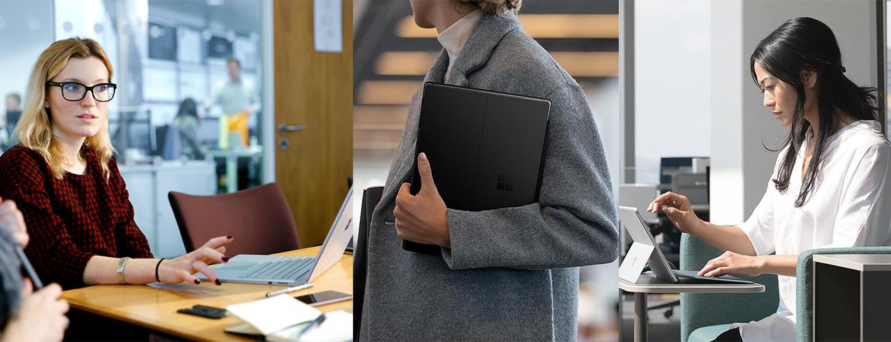 Drei Bilder, die Personen mit Surface Geräten in einem Büro, unterwegs und in einem Café, zeigen.