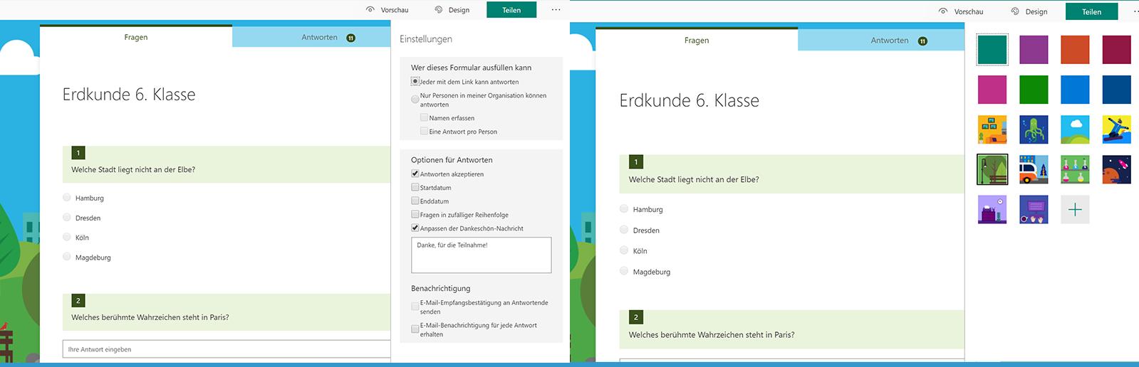 Das Bild zeigt das Einstellungsmenü für ein Arbeitsbogen in Microsoft Forms.