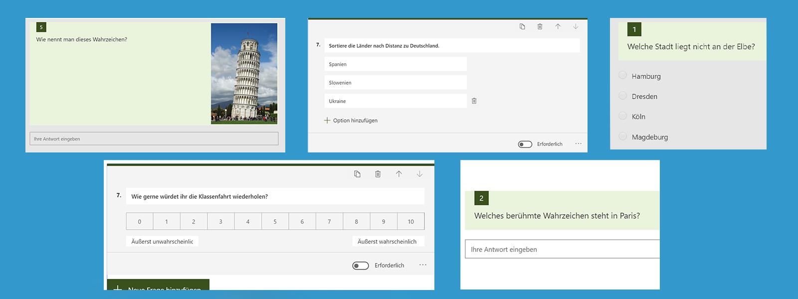 Das Bild zeigt eine Übersicht von verschiedenen Frage-Antwort-Möglichkeiten in Microsoft Forms.