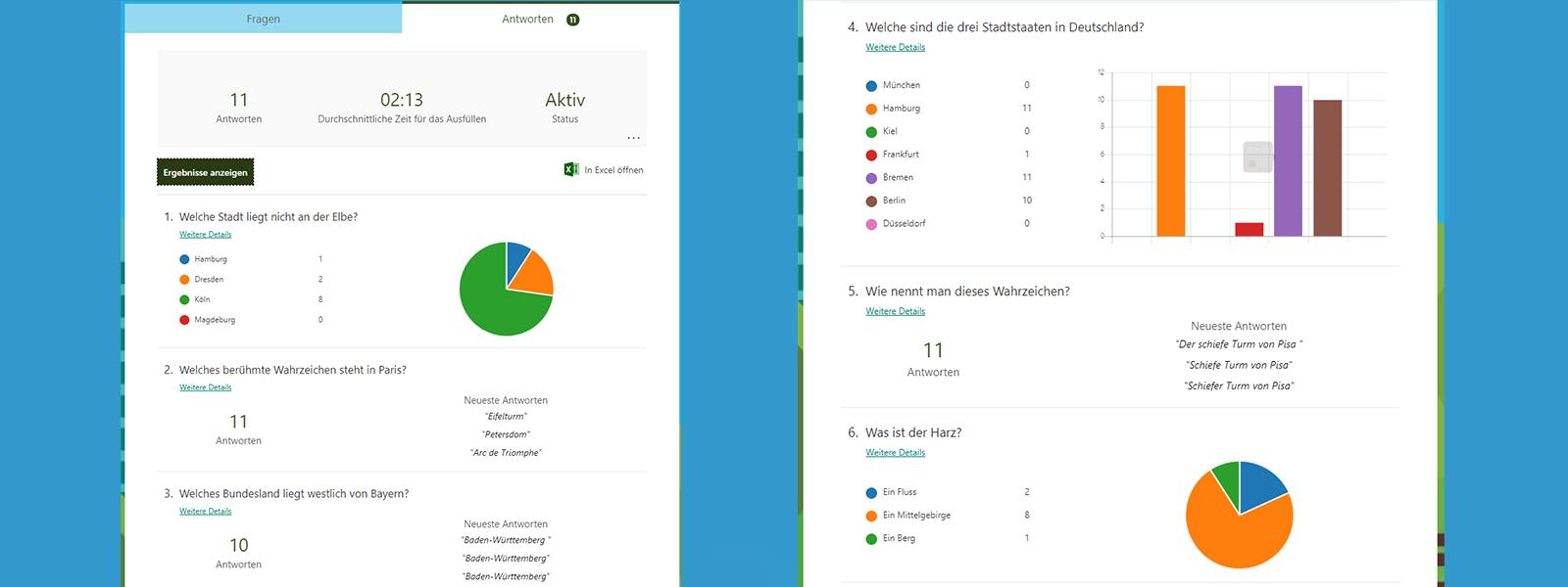 Das Bild zeigt die Auswertung und Darstellung von Antworten in Microsoft Forms.