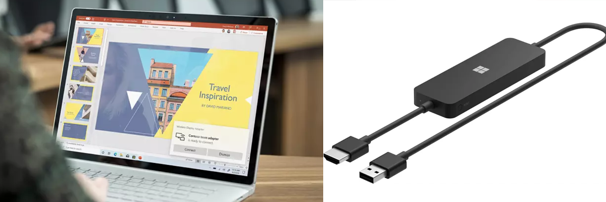 Eine Person, die an einem Surface Book arbeitet und ein Microsoft 4K Wireless Display Adapter