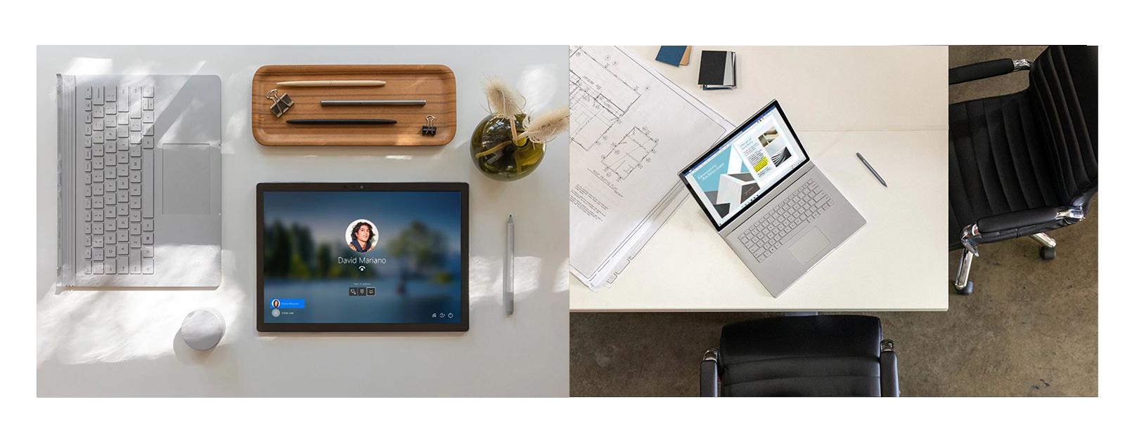 Das Surface Book 3 liegt als Tablet neben dem Surface Dial und Surface Book 3 Keyboard und das Surface Book steht aufgeklappt auf einem Schreibtisch