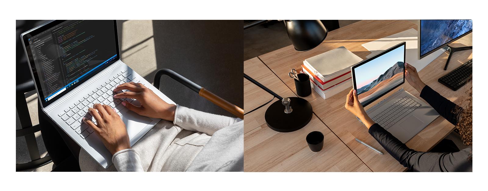 Eine Person arbeitet am Surface Book 3 und eine Person trennt den Bildschirm des Surface Book 3 von der Tastatur