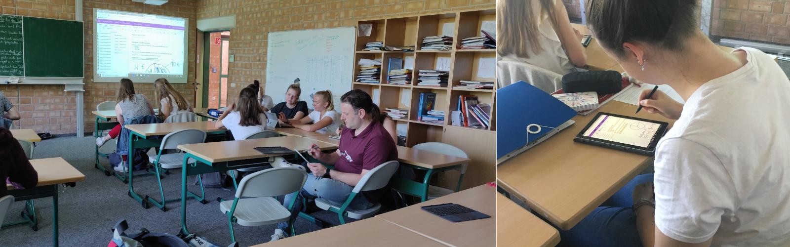 Zwei Bilder zeigen Lernende in der Schulklasse bei der Arbeit mit dem Surface Go.