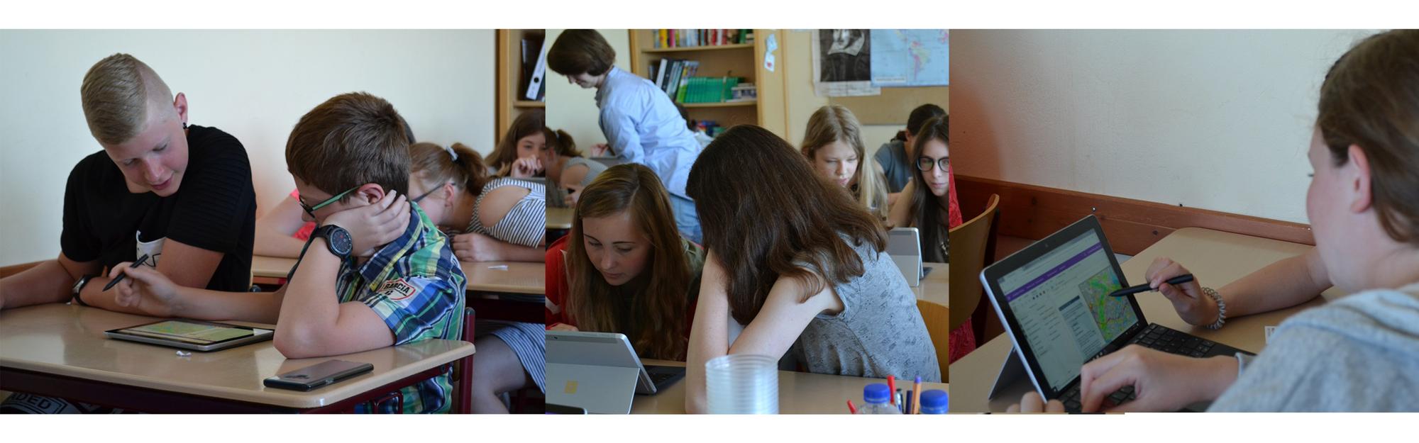 Die Bilder zeigen Lernende, die im Klassenzimmer auf dem Surface Go arbeiten.