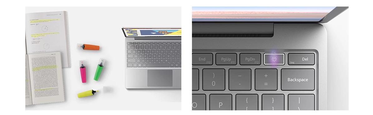 Der Surface Laptop Go im Schulalltag und die Netzwerktaste des Surface Laptop Go mit Fingertouch