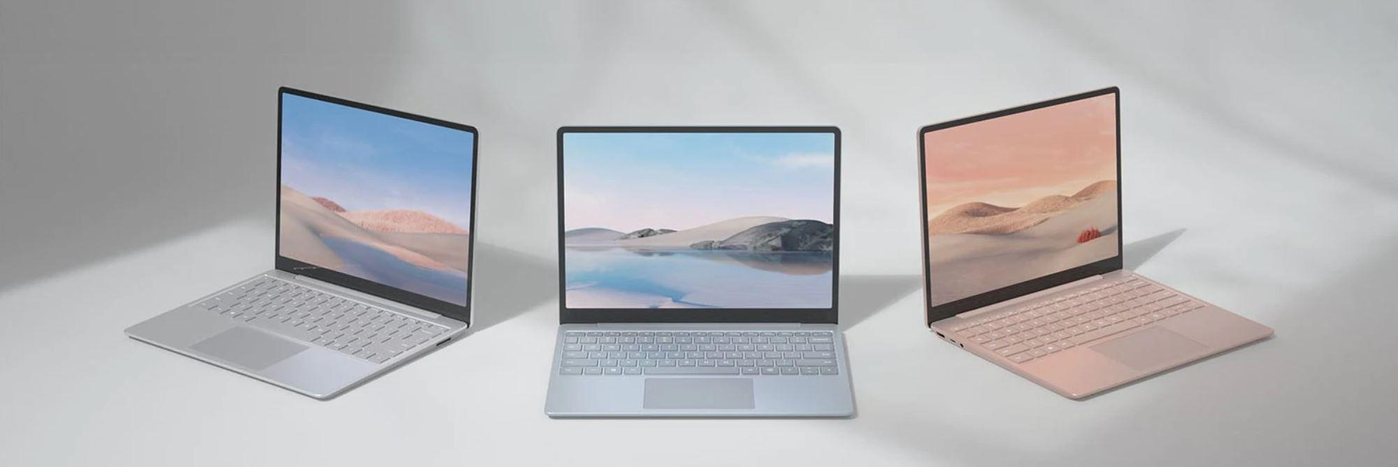 Drei Modelle des Surface Laptop Go in den Farben Platin, Eisblau und Sandstein