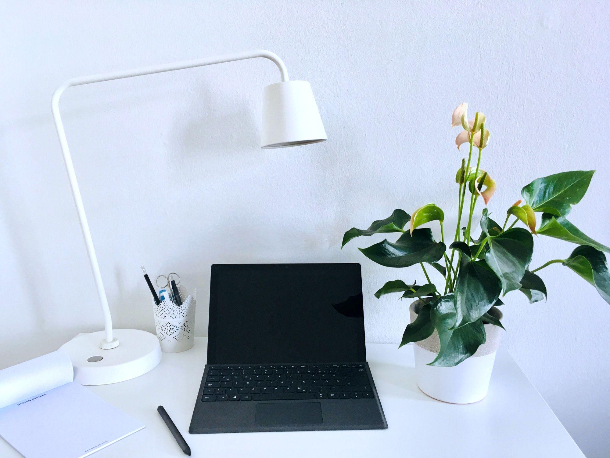 Das Surface Pro in Schwarz steht auf einem Schreibtisch zwischen einem Notizblock, einer Schreibtischlampe und einer Pflanze