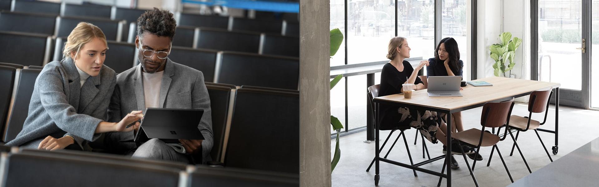 Auf dem linken Bild arbeiten zwei Personen in einem Hörsaal mit dem Surface Pro, auf dem rechten Bild arbeiten zwei Frauen an einem Tisch mit dem Surface Book