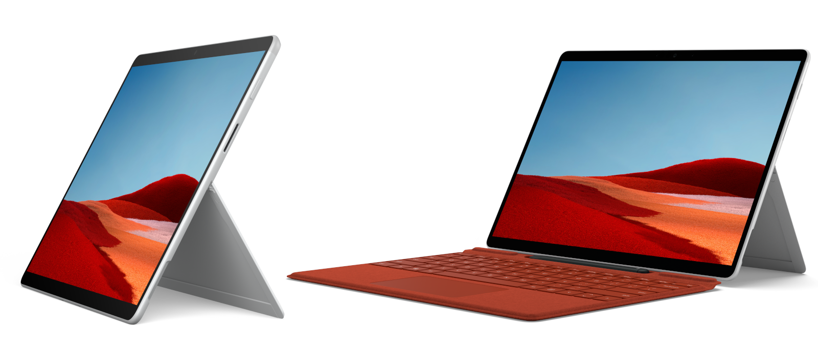 Links im Bild ist das Surface Pro X in Platin im Tablet-Modus platziert, rechts im Laptop-Modus mit mohnrotem Signature Keyboard