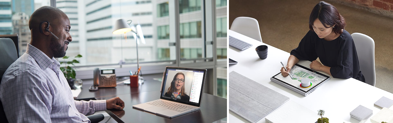 Auf dem linken Bild telefoniert ein Mann an seinem Schreibtisch per Teams-Videochat mit einer Frau, auf dem rechten Bild zeichnet eine Frau mit Surface Pen und Surface Dial auf dem Surface Book