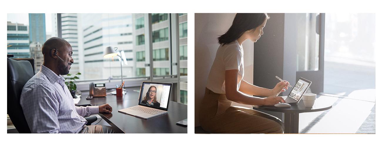 Ein Mann sitzt an einem Schreibtisch und führt über sein Surface Book 3 eine Videokonferenz. Eine Frau sitzt an einem kleinen Tisch und arbeitet mit ihrem Surface Pen auf dem Surface Go.