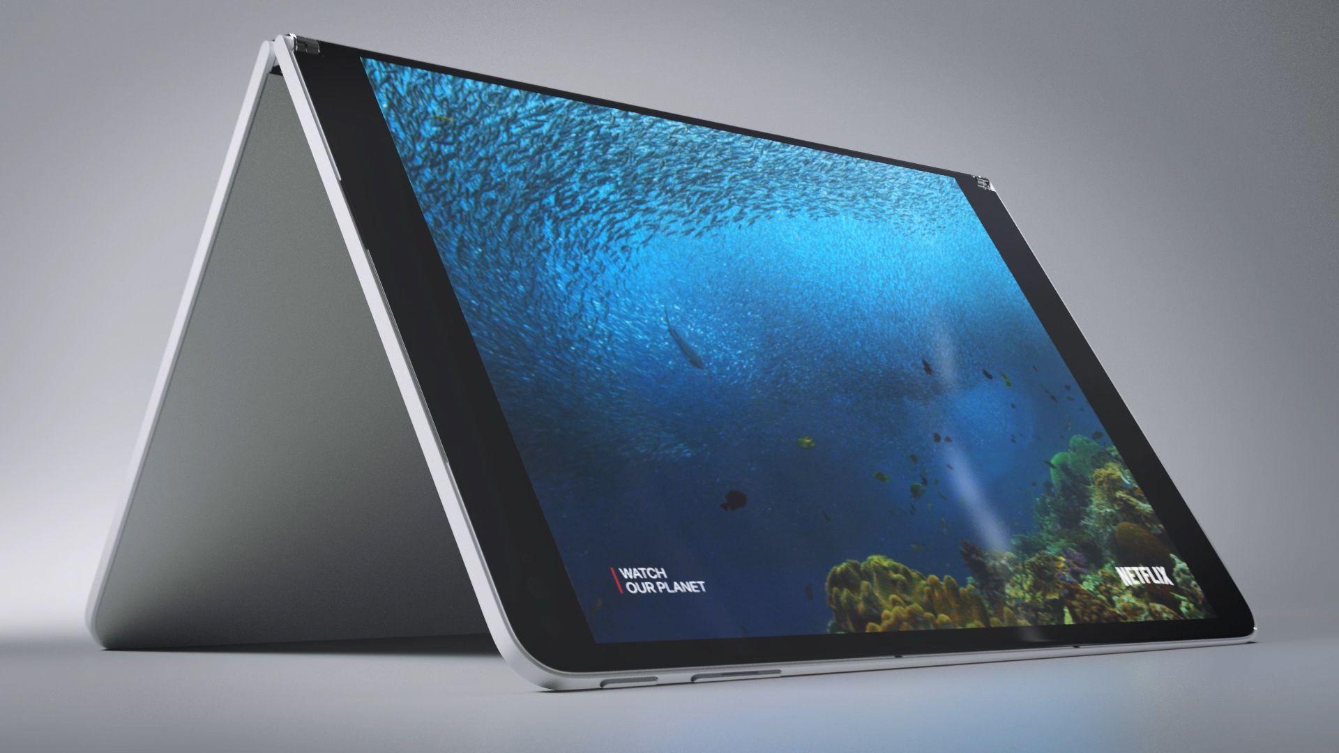 Das Surface Neo steht aufgeklappt auf einer Oberfläche und zeigt einen Film auf einem Bildschirm