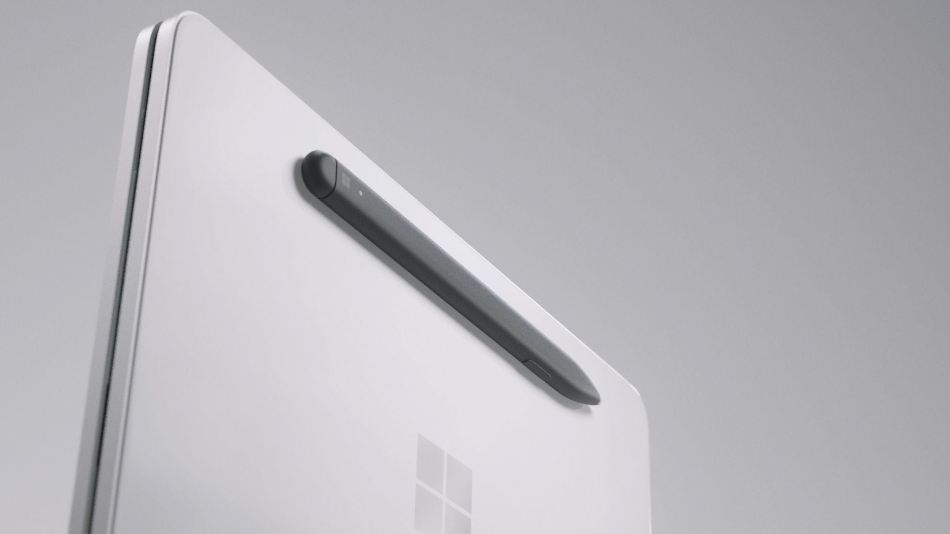 Der Surface Slim Pen ist magnetisch an der Außenseite des Surface Neo befestigt.