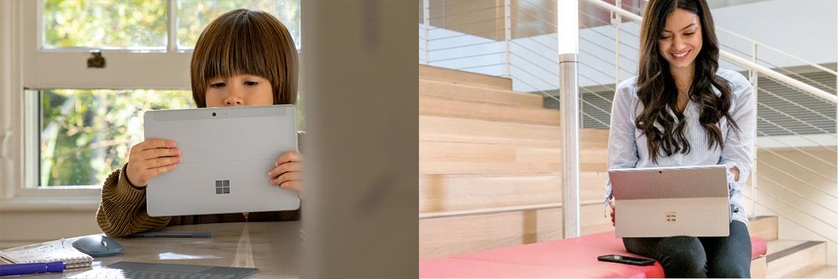 Auf dem linken Bild arbeitet ein Kind an einem Surface Go. Auf dem rechten Bild arbeitet eine junge Frau auf einem Surface Pro.