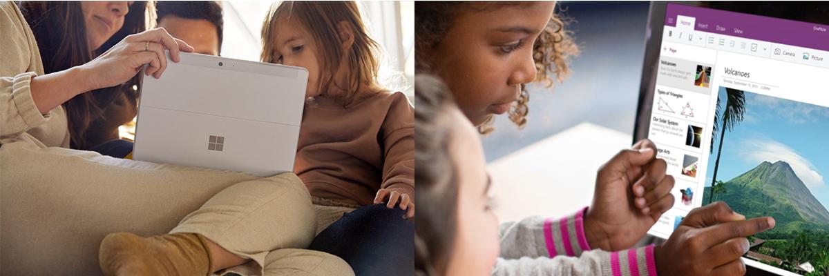 Auf dem linken Bild beschäftigt sich eine Familie mit dem Surface Go 2. Auf dem rechten Bild arbeiten zwei Kinder gemeinsam per Touch auf einem Surface Gerät.