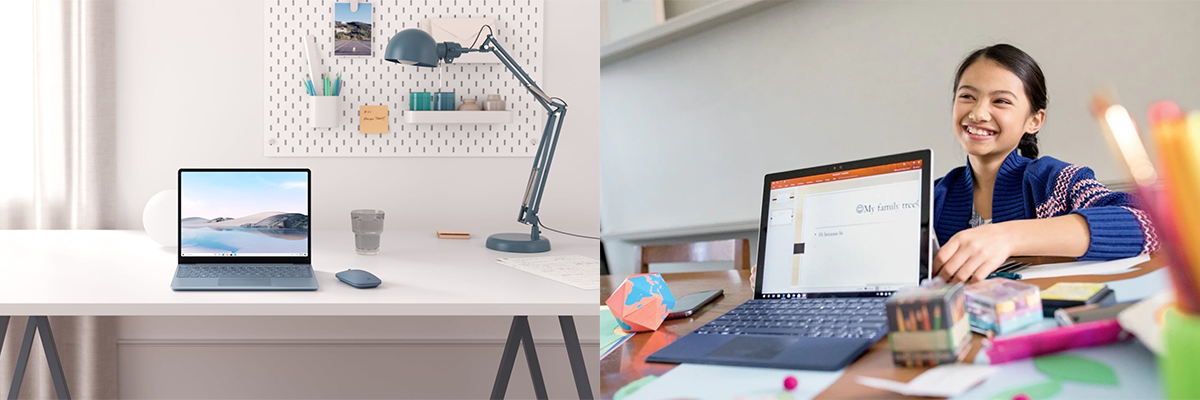 Das linke Bild zeigt den Surface Laptop Go auf einem Schreibtisch. Das rechte Bild zeigt ein junges Mädchen mit einem Surface Go.
