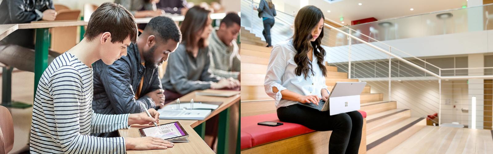 Lernende arbeite in verschiedenen Bereichen einer Hochschule mit dem Surface Pro
