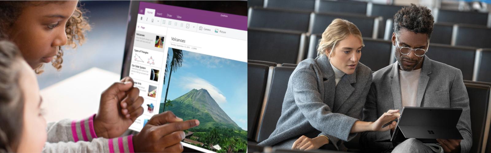 Lehrende und Lernende arbeiten mit den Surface Geräten und Microsoft 365.
