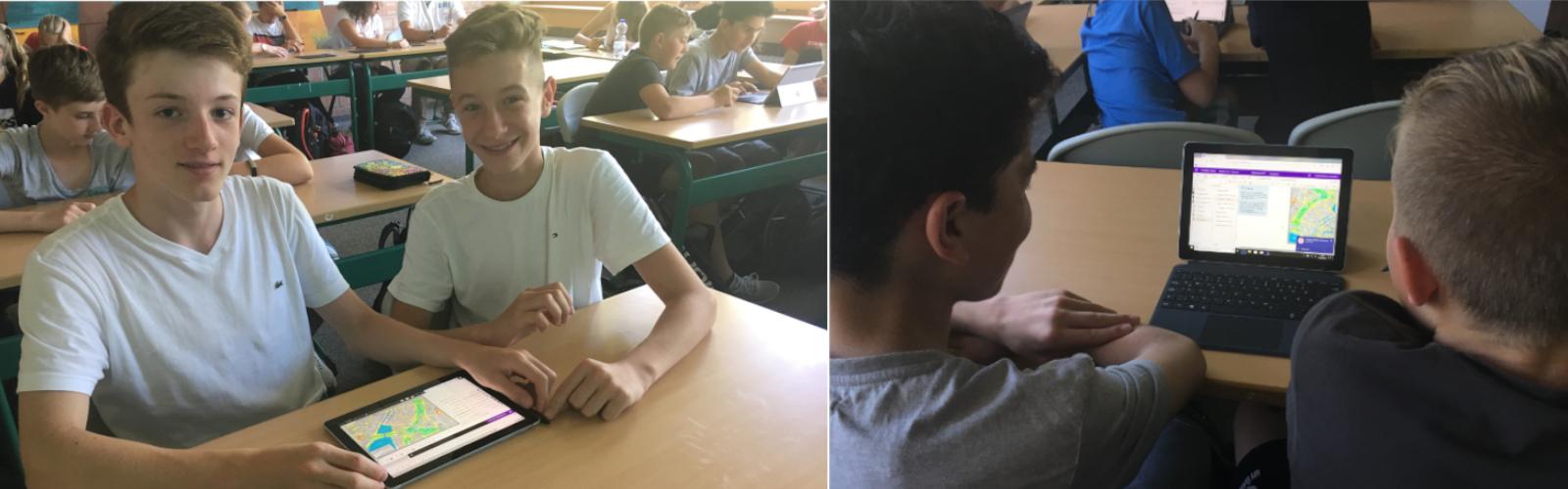 Lernende erledigen die Aufgabe einer Wegbeschreibung in OneNote auf den Surface Go Devices.