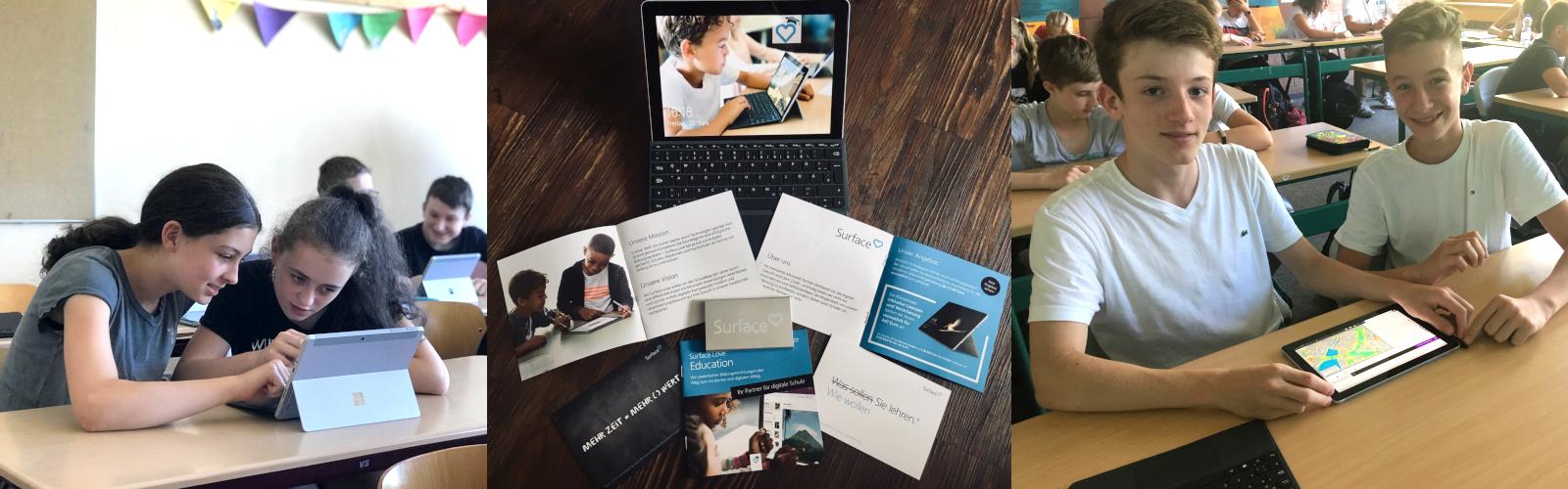 Drei Aufnahmen zeigen Marketing-Material und Eindrücke aus den Klassenzimmern, wie Lernende das Surface Go testen