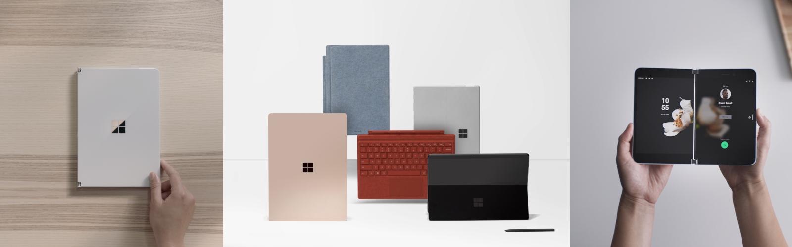 Verschiedene Bilder zeigen die neuen Surface Devices, wie das Surface Pro 7 oder das Surface Pro X