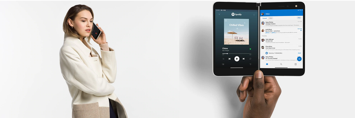 Auf dem linken Bild telefoniert eine Frau mit dem Surface Duo, auf dem rechten Bild hält eine Person das Surface Duo mit zwei darauf geöffneten Apps aufgeklappt in der Hand