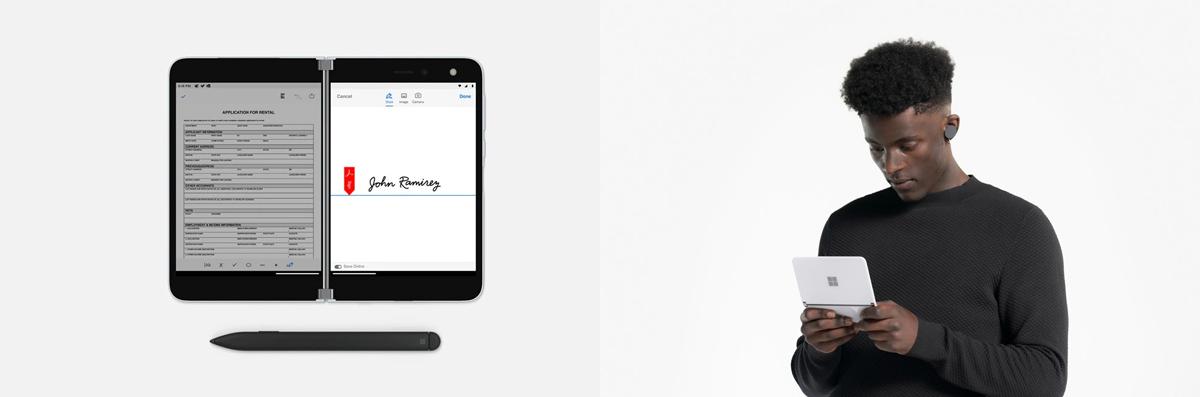 Auf dem linken Bild ist das Surface Duo aufgeklappt mit zwei verschiedenen geöffneten Apps, auf dem rechten Bild hält ein Mann das Surface Duo hochkant mit beiden Händen fest und schaut auf die Bildschirme